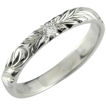婚約指輪 エンゲージリング ハワイアン 指輪 ジュエリー ハワイアンリング ダイヤモンド 一粒ダイヤモンド ダイヤ0.05ct ピンキーリング ホワイトゴールドK18 ハワジュ【コンビニ受取対応商品】 大きいサイズ対応 送料無料