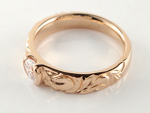 婚約指輪 エンゲージリング ハワイアンジュエリー ダイヤモンド ピンクゴールドk18 リング 一粒 大粒 0 50ct 指輪 18k 18金 レディース メンズ 楽ギフ 包装コンビニ受取対応商品大きいサイズ対応 送料無料3AqcRS4j5L
