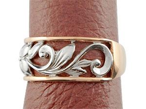 []ハワイアンジュエリー ハワイアンペアリング リング 結婚指輪 マリッジリング プラチナ900 ピンクゴールドk18 ミル打ち 幅広 透かし 幅広 結婚記念リング ハワジュ 2本セット 地金リング 宝石なし18k 18金ブライダルジュエリー
