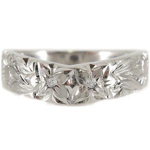 ハワイアンリング 指輪 ダイヤモンド リング ホワイトゴールドK18 小指に記念にお守りとして ハワジュ【コンビニ受取対応商品】 大きいサイズ対応 送料無料