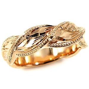 ハワイアンリング 指輪 幅広指輪 ピンクゴールドK18 マイレモチーフ K18PG ミル打ち ミル ハワジュ【コンビニ受取対応商品】 大きいサイズ対応 送料無料