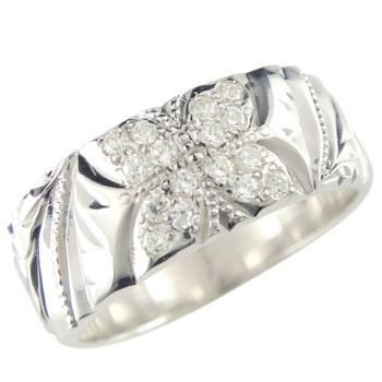 ハワイアンジュエリー ハワイアンリング ダイヤモンドリング ピンキーリング 幅広 指輪 ダイヤ0.16ct ホワイトゴールドk18 ミル打ち ハワジュ レディース メンズ18k 18金【コンビニ受取対応商品】 大きいサイズ対応 送料無料