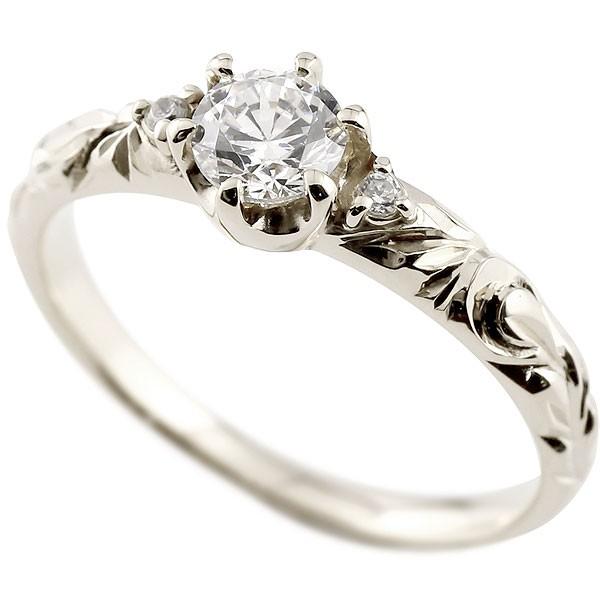[送料無料]婚約指輪 エンゲージリング ハワイアンジュエリー ダイヤモンドリング ホワイトゴールドk18 VSクラス 一粒 大粒 指輪 ハワイアンリング 18金 ダイヤ 4月誕生石 レディース【コンビニ受取対応商品】