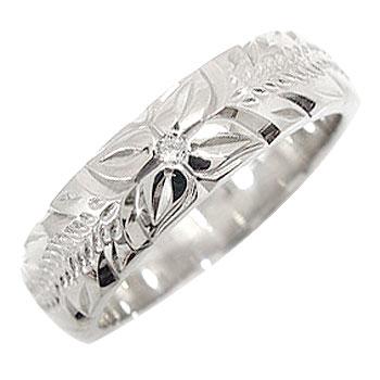 婚約指輪 エンゲージリング ダイヤモンドリング ハワイアンリング 一粒ダイヤモンド 指輪 幅広指輪 ホワイトゴールドK18 ハワジュ【コンビニ受取対応商品】 大きいサイズ対応 送料無料