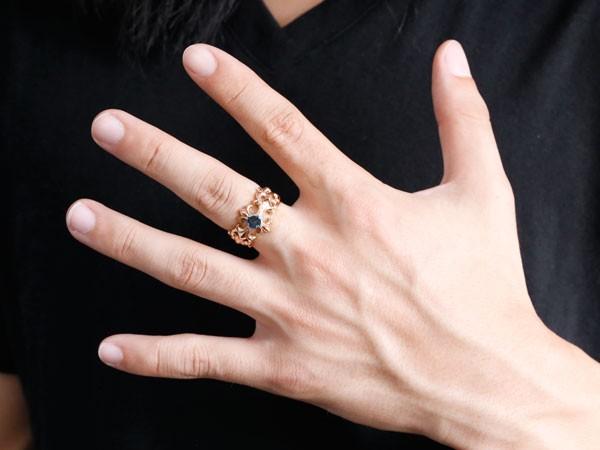 []メンズジュエリー メンズ クロス リング ブラックダイヤモンド 0.5ct ピンクゴールドk18 幅広 指輪 ダイヤ ゴールドリング ピンキーリング 男性用 18k 18金【楽ギフ_包装】0824楽天カード分割【コンビニ受取対応商品】