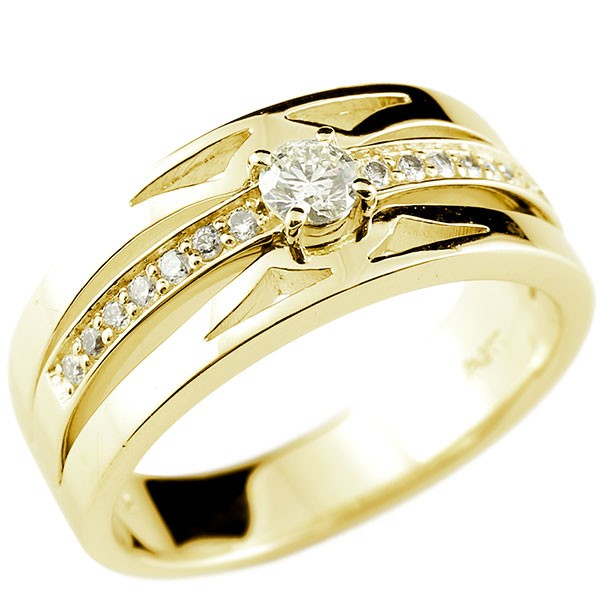 18金 メンズリング 指輪 イエローゴールドk18 18k ダイヤモンド ピンキーリング 幅広 リング 男性用 メンズジュエリー【コンビニ受取対応商品】 大きいサイズ対応 送料無料