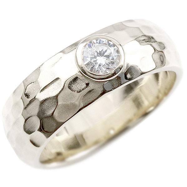 メンズ シルバー リング SV925 ダイヤモンドリング 指輪 幅広 6ミリ幅 ダイヤモンド 0.3ct ピンキーリング ストレート 槌目 槌打ち ロック仕上げ メンズジュエリー 男性用【コンビニ受取対応商品】 大きいサイズ対応 送料無料