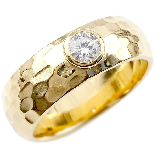 [送料無料]18金 メンズ リング ダイヤモンドリング 指輪 幅広 6ミリ幅 イエローゴールドK18 18k ダイヤモンド 0.3ct ピンキーリング ストレート 槌目 槌打ち ロック仕上げ メンズジュエリー 男性用【コンビニ受取対応商品】