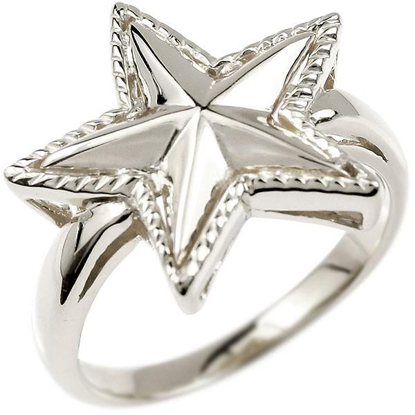 [送料無料]18金 メンズ リング 星 スター 大きい星 指輪 ホワイトゴールドK18 18k ピンキーリング メンズジュエリー 男性用【コンビニ受取対応商品】
