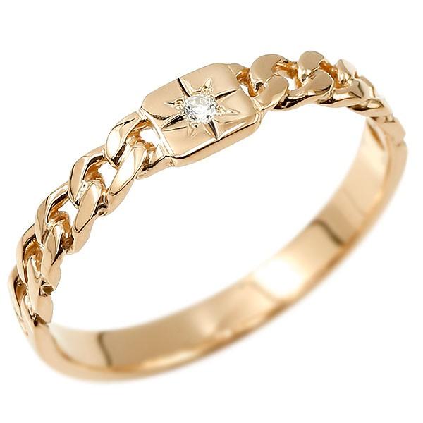 メンズ リング 指輪 18金 ダイヤモンド ピンクゴールドK18 ダイヤ 18k 喜平 喜平リング キヘイ 鎖柄 裏抜き無し 地金リング 宝石なし 男性用 メンズジュエリー【コンビニ受取対応商品】 大きいサイズ対応 送料無料