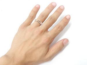 []結婚指輪 マリッジリング クロス ペアリング ピンクゴールドk18  ダイヤモンド ブライダルリング ウェディングリング ウェディングバンド 結婚記念 結婚式ミル打ち オリジナルリング 2本セット18k 18金【楽ギフ_包装】