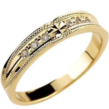 婚約指輪 エンゲージリング クロス イエローゴールドk18 ダイヤモンド リング ミル打ち レディース18k 18金【コンビニ受取対応商品】 大きいサイズ対応 送料無料