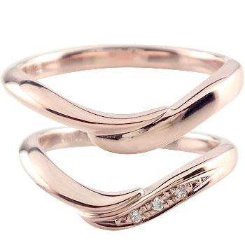 結婚指輪 ピンクゴールドk18 ダイヤモンド マリッジリング ペアリング ブライダルリング ウェディングリング 結婚式 結婚記念 ブライダルジュエリーハンドメイド 2本セット 18k 18金【コンビニ受取対応商品】 指輪 大きいサイズ対応 送料無料