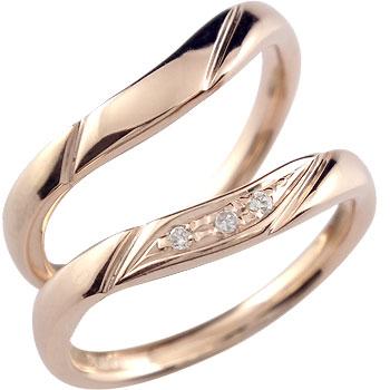 [送料無料]ペアリング ;結婚指輪 マリッジリング ダイヤ ダイヤモンド ピンクゴールドk18 ハンドメイド  ソフトライン 2本セット18k 18金【コンビニ受取対応商品】