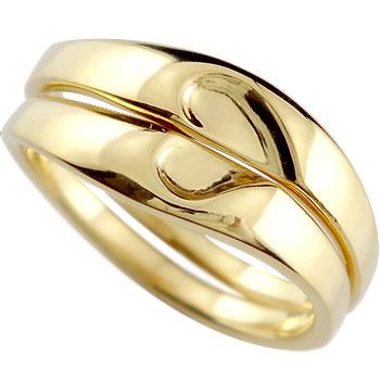 結婚指輪 マリッジリング ペアリング ハート イエローゴールドk18 合わせるとハート 結婚式 結婚記念 ハンドメイド 2本セット ブライダルリング 18k 18金【コンビニ受取対応商品】 指輪 大きいサイズ対応 送料無料