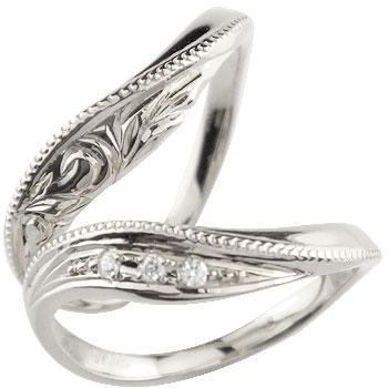 [送料無料]ハワイアンジュエリー ペアリング キュービックジルコニア 結婚指輪 マリッジリング シルバー ミル打ち ハンドメイド 2本セット【コンビニ受取対応商品】