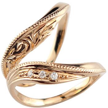 [送料無料]ハワイアンジュエリー ハワイアンペアリング ダイヤモンド 結婚指輪 マリッジリング ピンクゴールドk18 ミル打ち ハンドメイド 2本セット 18k 18金【コンビニ受取対応商品】