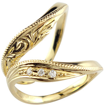 ハワイアンジュエリー ペアリング ダイヤモンド 結婚指輪 マリッジリング イエローゴールドk18 ミル打ち ハンドメイド 2本セット18k 18金【コンビニ受取対応商品】 指輪 大きいサイズ対応 送料無料