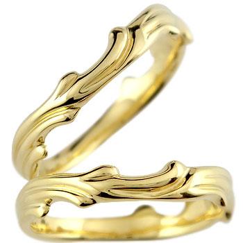 [送料無料]ペアリング 結婚指輪 マリッジリング イエローゴールドk18 波 ハンドメイド 2本セット 18k 18金【コンビニ受取対応商品】