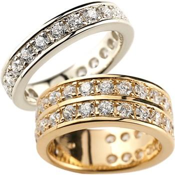ペアリング 結婚指輪 マリッジリング ピンクゴールドk18 ホワイトゴールドk18 ダイヤモンド ハーフエタニティ ウェディング 記念リング 2本セット18k 18金【コンビニ受取対応商品】 指輪 大きいサイズ対応 送料無料
