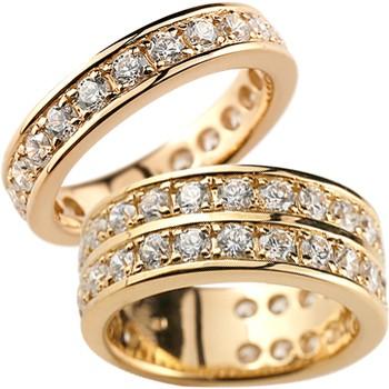 ペアリング 結婚指輪 マリッジリング ピンクゴールドk18 ダイヤモンド ハーフエタニティ ウェディング 記念リング 2本セット18k 18金【コンビニ受取対応商品】 指輪 大きいサイズ対応 送料無料