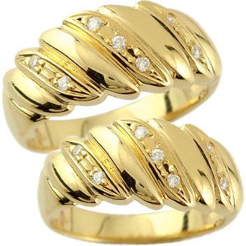 ペアリング 結婚指輪 マリッジリング イエローゴールドk18 ダイヤモンド ウェディングリング ウェディングバンド 記念リング 結婚式 k18 18金 2本セット【コンビニ受取対応商品】 指輪 大きいサイズ対応 送料無料