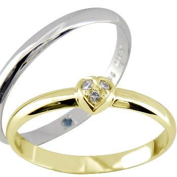 結婚指輪 ペアリング マリッジリング ダイヤ ダイヤモンド ハート イエローゴールドk18 ホワイトゴールドk18 2本セット 甲丸18k 18金【コンビニ受取対応商品】 指輪 大きいサイズ対応 送料無料