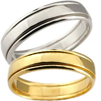 結婚指輪 プラチナ イエローゴールドk18 ペアリング マリッジリング 結婚式 地金リング 宝石なし ストレート 2本セット ブライダルリング 記念【コンビニ受取対応商品】 指輪 大きいサイズ対応 送料無料