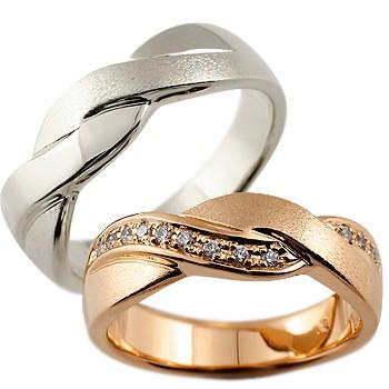 ペアリング ホワイトゴールドk18 ピンクゴールドk18 18金 ダイヤモンド 結婚指輪 マリッジリング ウェデングリング 結婚記念 幅広 ホーニング つや消し 結婚式 ハンドメイド 2本セット18k 18金【コンビニ受取対応商品】 指輪 送料無料