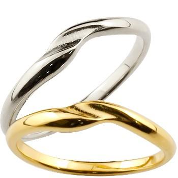 ペアリング 結婚指輪 マリッジリング 地金リング プラチナ イエローゴールドk18 結婚記念 つや消し ダイヤモンドポイント加工 ダイヤポイント あらし アンティーク加工 pt900 18金 地金リング 宝石なし 2本セット 指輪 送料無料