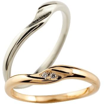 ペアリング 結婚指輪 マリッジリング 結婚記念 ダイヤモンド プラチナ ピンクゴールドk18 シンプル つや消し ダイヤモンドポイント加工 ダイヤポイント あらし アンティーク加工 pt900 18金 ハンドメイド 2本セット 指輪 送料無料
