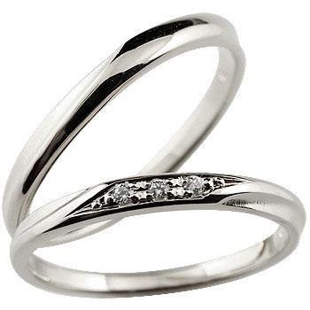 ペアリング 結婚指輪 マリッジリング ダイヤモンド ホワイトゴールドk18 18金 結婚記念 つや消し ダイヤモンドポイント加工 ダイヤポイント あらし アンティーク加工 地金リング 宝石なし ハンドメイド 2本セット 指輪 送料無料