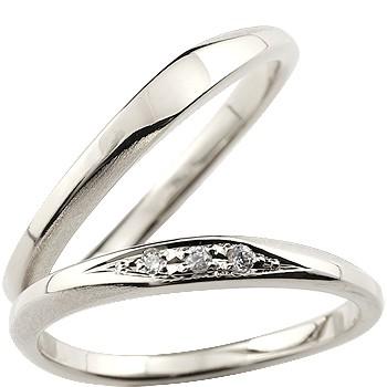 ペアリング マリッジリング 結婚指輪 結婚記念リング ウェディングリング ウェディングバンド ダイヤモンド プラチナ 細め 荒し ダイヤモンドポイント加工 つや消し 2本セット【コンビニ受取対応商品】 指輪 大きいサイズ対応 送料無料