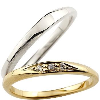 [送料無料]ペアリング マリッジリング 結婚指輪 結婚記念リング ウェディングリング ウェディングバンド ダイヤモンド ホワイトゴールドk18 イエローゴールドk18 18金 細め 荒し ダイヤモンドポイント加工 つや消し 2本セット