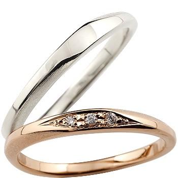 [送料無料]ペアリング マリッジリング 結婚指輪 結婚記念リング ウェディングリング ウェディングバンド ダイヤモンド ホワイトゴールドk18 ピンクゴールドk18 18金 細め 荒し ダイヤモンドポイント加工 つや消し 2本セット