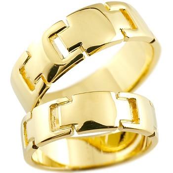 クロス イエローゴールドk18 ペアリング 結婚指輪 マリッジリング ウェディングリング ウェディングバンド 記念リング 結婚式 18金 幅広 地金リング 宝石なし 2本セット【コンビニ受取対応商品】 指輪 大きいサイズ対応 送料無料