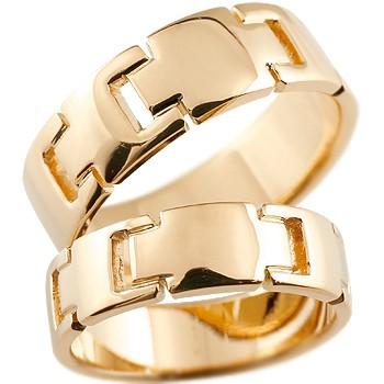 クロス ピンクゴールドk18 ペアリング 結婚指輪 マリッジリング ウェディングリング ウェディングバンド 記念リング 結婚式 18金 幅広 地金リング 宝石なし 2本セット【コンビニ受取対応商品】 指輪 大きいサイズ対応 送料無料
