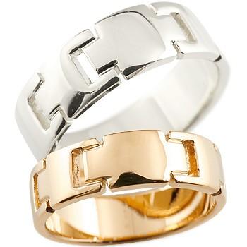クロス プラチナ ピンクゴールドk18 ペアリング 結婚指輪 マリッジリング ウェディングリング ウェディングバンド 記念リング 結婚式 pt900 18金 幅広 地金リング 宝石なし 2本セット【コンビニ受取対応商品】 指輪 大きいサイズ対応 送料無料