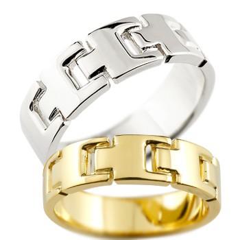 ペアリング マリッジリング 結婚指輪 結婚記念リング ウェディングリング ウェディングバンド ホワイトゴールドk18 イエローゴールドk18 18金 地金リング 幅広 2本セット【コンビニ受取対応商品】 指輪 大きいサイズ対応 送料無料