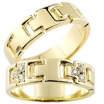 [送料無料]ペアリング マリッジリング 結婚指輪 結婚記念リング ウェディングリング ウェディングバンド イエローゴールドk18 18金 ダイヤモンド PT900 幅広 2本セット【コンビニ受取対応商品】