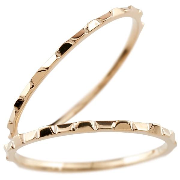 ペアリング マリッジリング ピンクゴールドk18 リング 結婚指輪 結婚記念リング ウェディングリング ブライダルリング 細め 極細 華奢 2本セット 18金 地金リング【コンビニ受取対応商品】 指輪 大きいサイズ対応 送料無料