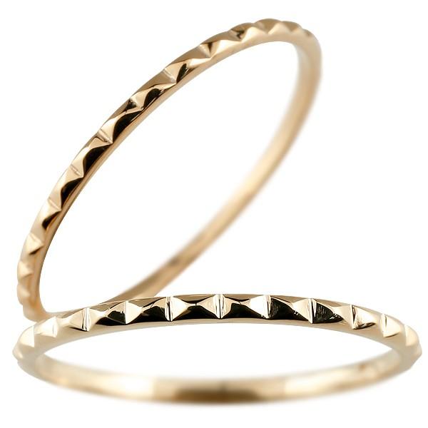 [送料無料]ペアリング マリッジリング 結婚指輪 結婚記念リング ピンクゴールドk18 リング ウェディングリング ブライダルリング 細め 極細 華奢 2本セット 18金 地金リング【コンビニ受取対応商品】