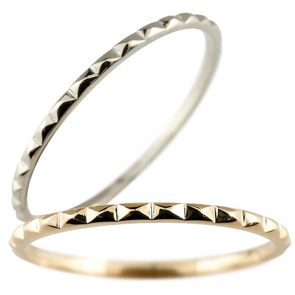 [送料無料]ペアリング マリッジリング 結婚指輪 結婚記念リング ピンクゴールドk18 ホワイトゴールドk18 リング ウェディングリング ブライダルリング 細め 極細 華奢 2本セット 18金 地金リング【コンビニ受取対応商品】