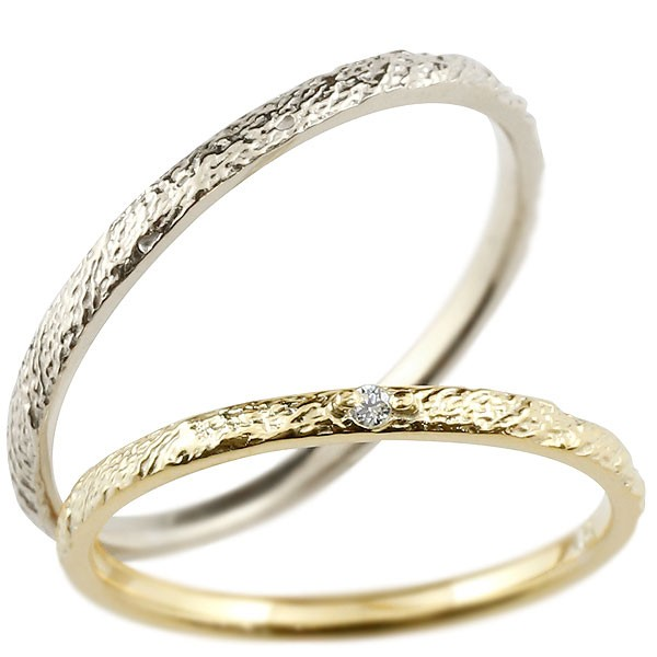 [送料無料]ペアリング マリッジリング 結婚指輪 結婚記念リング イエローゴールドk18 ホワイトゴールドk18 リング ダイヤモンド ウェディングリング ブライダルリング 極細 華奢 アンティーク ストレート 2本セット 18金