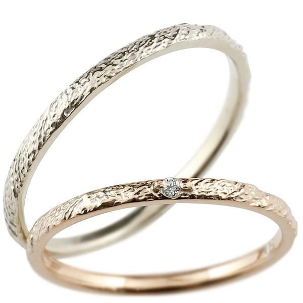 ペアリング マリッジリング ピンクゴールドk10 ホワイトゴールドk10 リング ダイヤモンド 結婚指輪 結婚記念リング ウェディングリング ブライダルリング 極細 華奢 アンティーク ストレート 2本セット 10金 指輪 大きいサイズ対応 送料無料