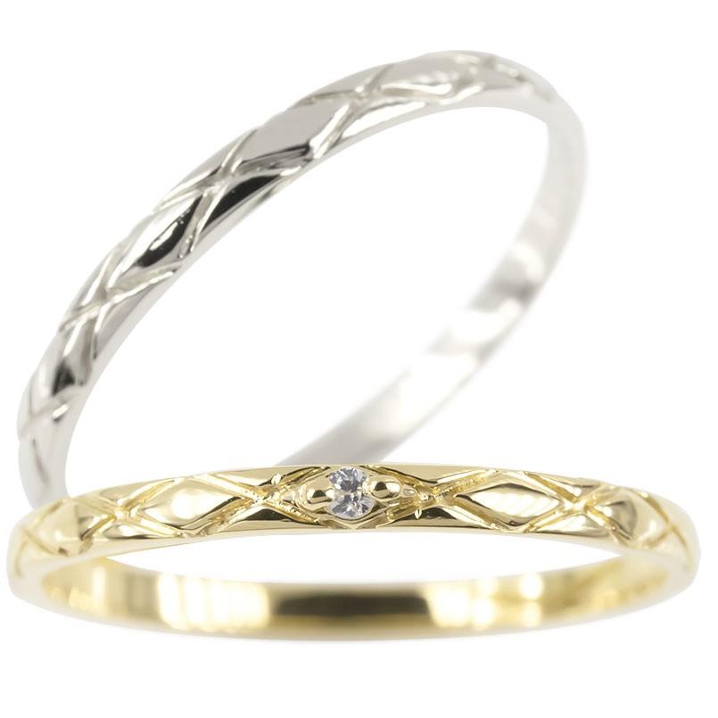 ペアリング マリッジリング 結婚指輪 結婚記念リング イエローゴールドk18 ホワイトゴールドk18 リング ダイヤモンド ウェディングリング ブライダルリング 極細 華奢 アンティーク ストレート 2本セット 18金 指輪 大きいサイズ対応 送料無料
