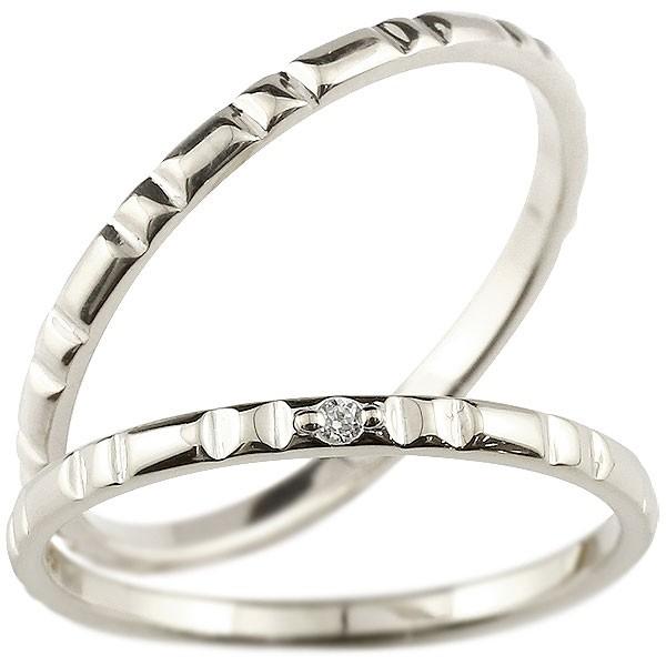 [送料無料]ペアリング マリッジリング 結婚指輪 結婚記念リング ホワイトゴールドk18 リング ダイヤモンド ウェディングリング ブライダルリング 極細 華奢 アンティーク ストレート 2本セット 18金【コンビニ受取対応商品】