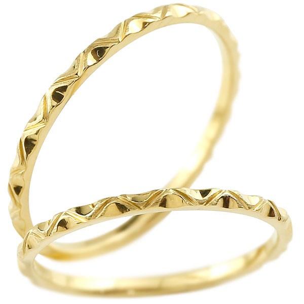 ペアリング マリッジリング イエローゴールドk18 リング 結婚指輪 結婚記念リング ウェディングリング ブライダルリング 極細 華奢 アンティーク ストレート 地金リング 宝石なし 2本セット 18金【コンビニ受取対応商品】 指輪 送料無料