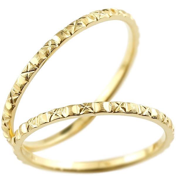 [送料無料]ペアリング マリッジリング イエローゴールドk18 リング 結婚指輪 結婚記念リング ウェディングリング ブライダルリング 極細 華奢 アンティーク ストレート 地金リング 宝石なし 2本セット 18金【コンビニ受取対応商品】