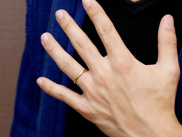 ペアリング マリッジリング 結婚指輪 結婚記念リング イエローゴールドk18 リング ウェディングリング ブライダルリング 極細 華奢 アンティーク ストレート 地金リング 宝石なし 2本セット 18金 楽ギフ 包装コンビニ受取対応商品指輪 送料無料wOkXZuPiT